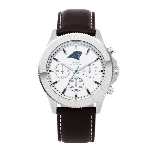 Jack Mason Carolina Panthers Leather Chronograph Watch