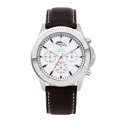 Jack Mason Denver Broncos Leather Chronograph Watch