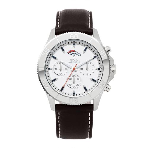 Jack Mason Denver Broncos Leather Chronograph Watch