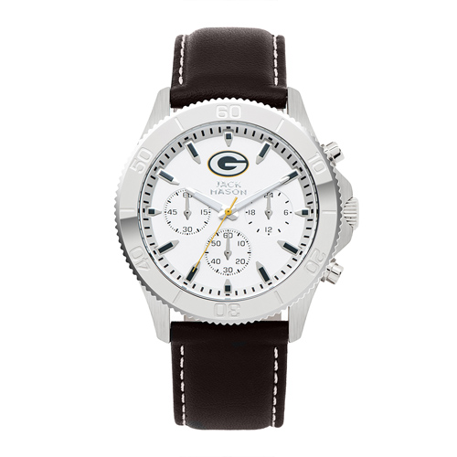Jack Mason Green Bay Packers Leather Chronograph Watch