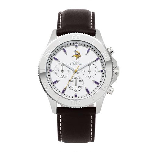 Jack Mason Minnesota Vikings Leather Chronograph Watch