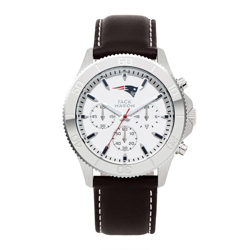 Jack Mason New England Patriots Leather Chronograph Watch