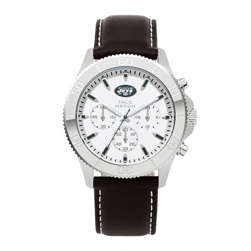 Jack Mason New York Jets Leather Chronograph Watch