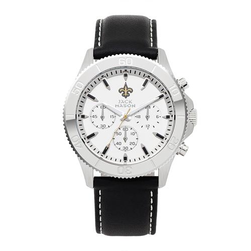 Jack Mason New Orleans Saints Leather Chronograph Watch