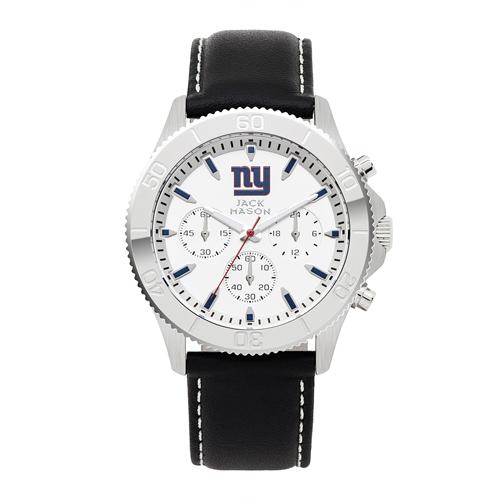 Jack Mason New York Giants Leather Chronograph Watch
