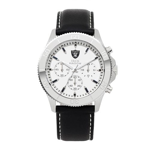 Jack Mason Oakland Raiders Leather Chronograph Watch