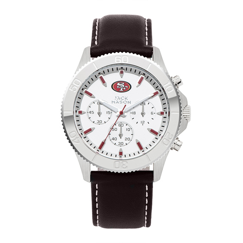 Jack Mason San Francisco 49ers Leather Chronograph Watch