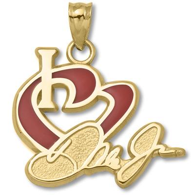10kt Yellow Gold 3/4in I Love Dale Jr. Enamel Heart Pendant