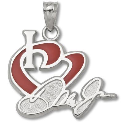 Sterling Silver 3/4in I Love Dale Jr. Enamel Heart Pendant