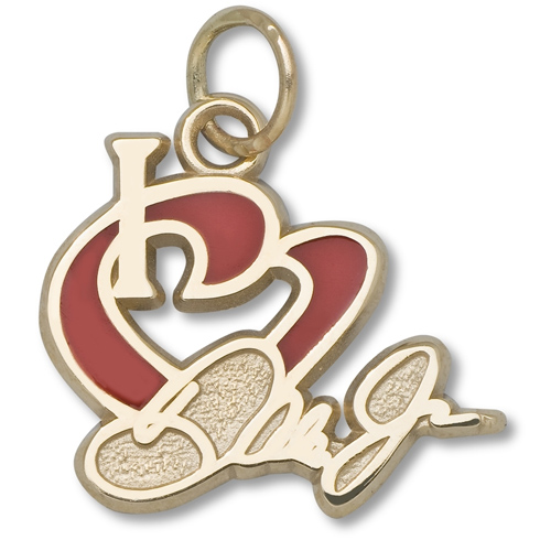 10kt Yellow Gold 1/2in I Love Dale Jr. Enamel Heart Pendant