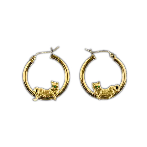 14k Yellow Gold Cat Lounge Earrings