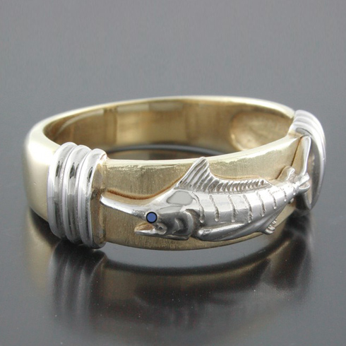 14kt Two-tone Gold Marlin Platform Ring