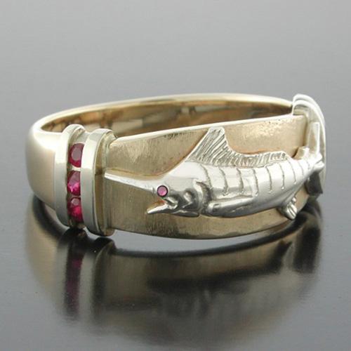 14kt Two-tone Gold Marlin Ruby Platform Ring