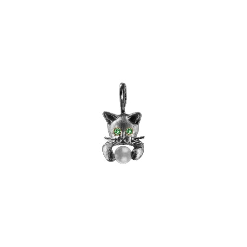 Crouching Kitten Pearl Pendant with Emerald Eyes Sterling Silver