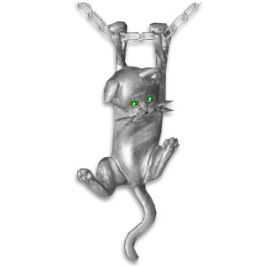 Sterling Silver Dangling Kitten Pendant with Emerald Eyes