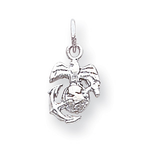 14kt White Gold 3/8in US Marine Corps Eagle Globe and Anchor Charm