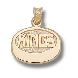 14kt Yellow Gold Los Angeles Kings Puck 7/16in