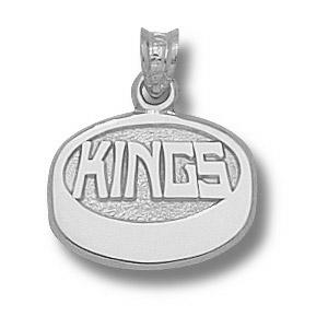 Los Angeles Kings Puck Pendant 7/16in Sterling Silver