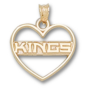 10kt Yellow Gold 5/8in Los Angeles Kings Heart Pendant