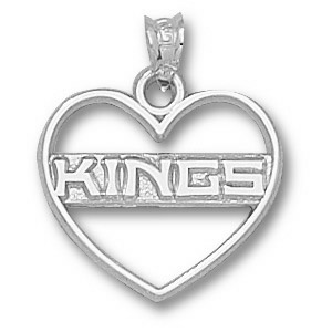 Sterling Silver 5/8in Los Angeles Kings Heart Pendant