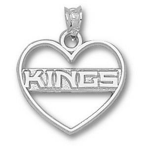 Sterling Silver 5/8in Los Angeles Kings Heart Pendant
