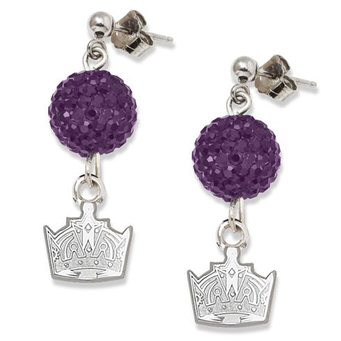 Sterling Silver Los Angeles Kings Crystal Ovation Earrings