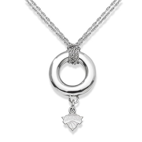 Sterling Silver 16in New York Knicks Halo Necklace