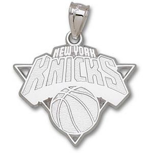 10kt White Gold 1in New York Knicks Logo Pendant