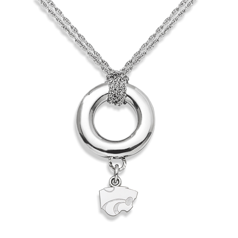 Sterling Silver 16in Kansas State University Halo Necklace