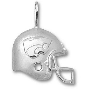 Sterling Silver 3/4in Kansas State Football Helmet Pendant