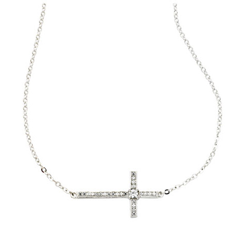 1in Sterling Silver Cubic Zirconia Sideways Cross 18in Necklace
