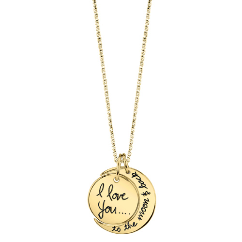 14kt Gold I Love You To The Moon And Back Necklace