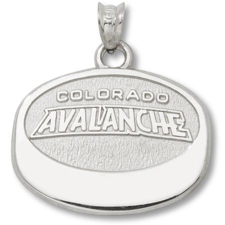 Sterling Silver 5/8in Colorado Avalanche Puck Pendant
