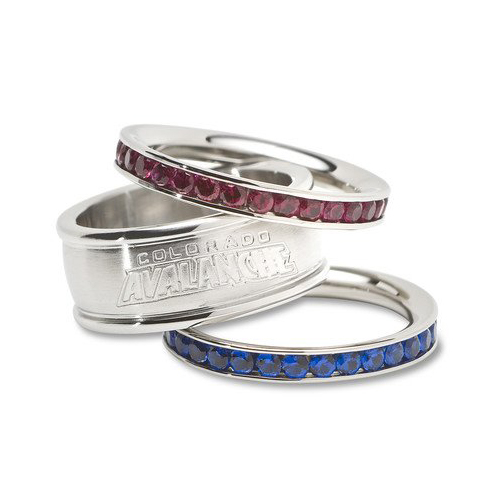 Colorado Avalanche Team Logo Crystal Stacked Ring Set