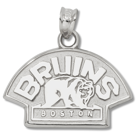 Sterling Silver 1/2in Boston Bruins Bear Charm