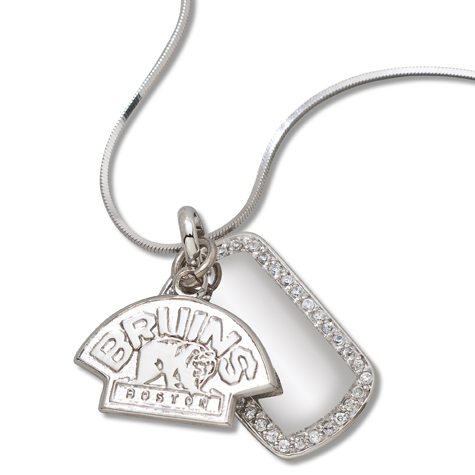 Sterling Silver Boston Bruins Mini Dog Tag Necklace