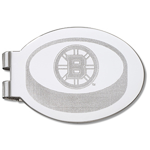 Boston Bruins Silver Plated Laser Engraved Money Clip