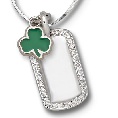 Sterling Silver Boston Celtics Shamrock Mini Dog Tag Necklace