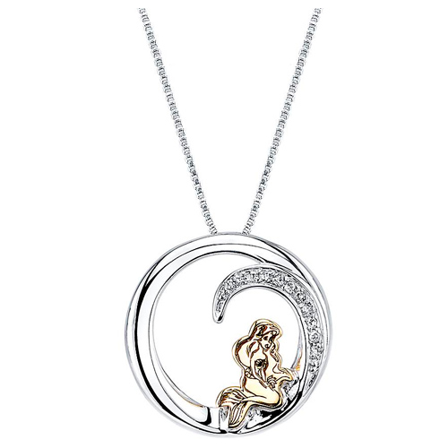 Gold-plated Sterling Silver Little Mermaid Diamond Necklace