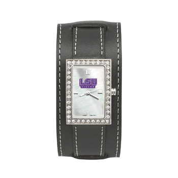 LSU Tigers Wide Starlette Leather Watch