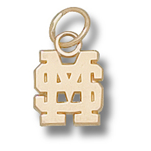 14kt Gold 3/8in Mississippi State University MS Pendant