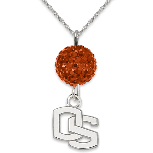 Sterling Silver Oregon State University Crystal Ovation Necklace