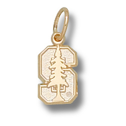10kt Yellow Gold 1/4in Stanford University S Tree Charm