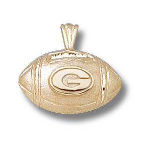 14kt Yellow Gold 1/2in Georgia Bulldogs Football Pendant
