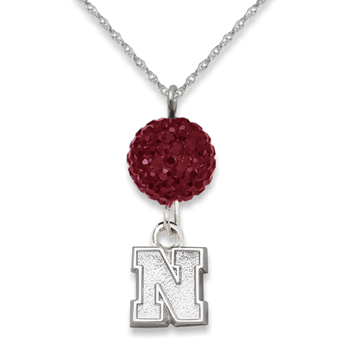 Sterling Silver University of Nebraska Crystal Ovation Necklace