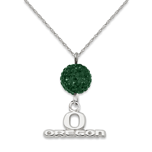 Sterling Silver University of Oregon Crystal Ovation Necklace