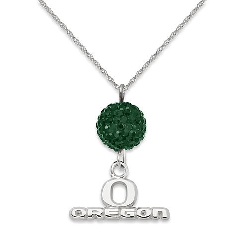 Sterling Silver University of Oregon Crystal Ovation Necklace