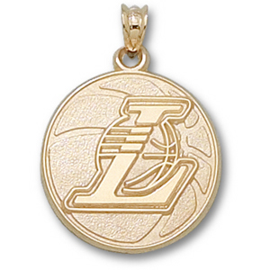 10kt Gold 3/4in Los Angeles Lakers Basketball Pendant
