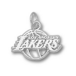 Sterling Silver 3/8in Los Angeles Lakers Basketball Pendant