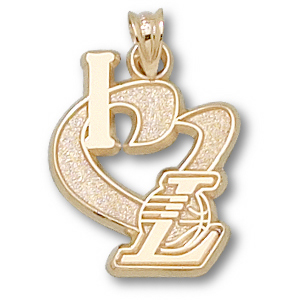 14kt Yellow Gold 3/4in I Heart the Lakers Pendant
